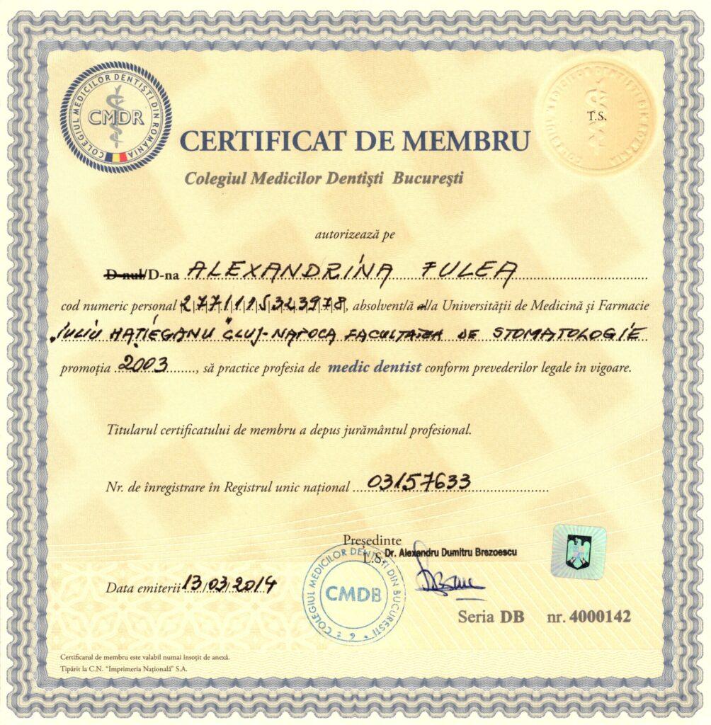 dr Adina Fulea - certificat membru al colegiului medicilor dentisti din bucuresti